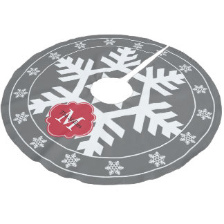 Gray and Festive Red Giant Snowflake Brushed Polyester Tree Skirt