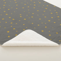 Gray and Gold Abstract Modern Random Dot Pattern Sherpa Blanket