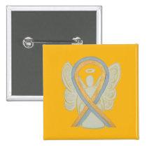 Gray and Gold Angel Awareness Ribbon Button Pins