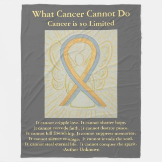 Gray and Gold Awareness Ribbon Angel Blanket