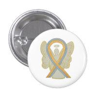Gray and Gold Awareness Ribbon Custom Angel Pins