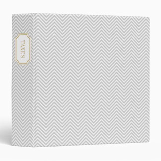 Gray and Gold Elegant Chevron and Bookplate Label Binder