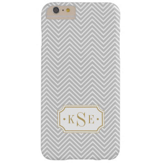 Gray and Gold Elegant Chevron Monogram Barely There iPhone 6 Plus Case