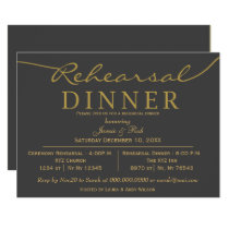 gray and gold Elegant Script Rehearsal Dinner Card