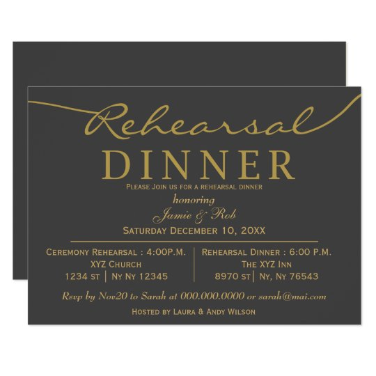 gray and gold elegant script rehearsal dinner invitation zazzle com