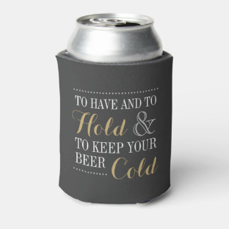 Gray and Gold Modern Wedding Monogram Can Cooler