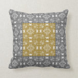 Gray and gold pattern  Throw Pillow