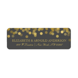Gray and Gold Twinkle Modern Return Address Labels