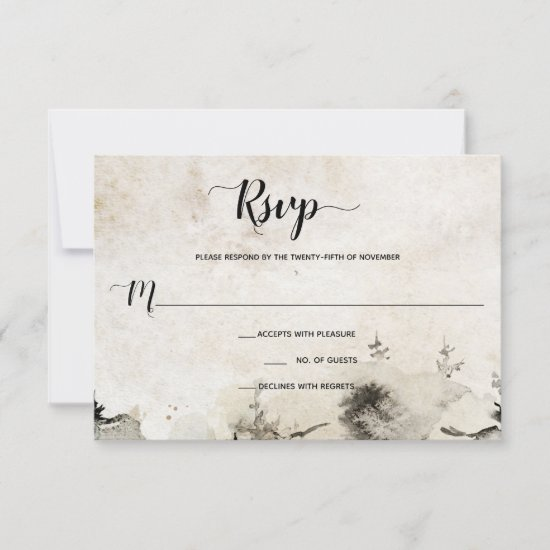 Gray and Gold Watercolor Alpine Mountain Wedding | RSVP Card