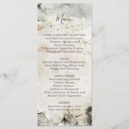 Gray and Gold Watercolor Splash Alpine Mountain | Menu