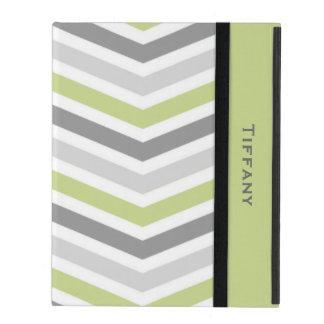 Gray and Green Chevron Custom iPad Case