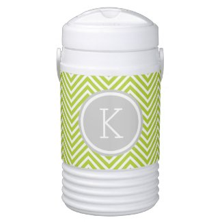 Gray and Green Chevron Custom Monogram Igloo Beverage Cooler