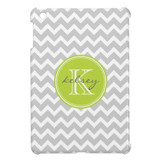 Gray and Green Chevron Custom Monogram Cover For The iPad Mini