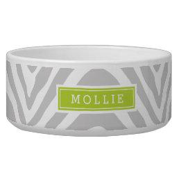 Gray and Green Zebra Print Monogram Bowl