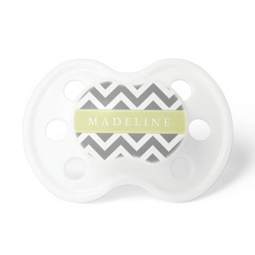 Gray and Green Zigzags Pattern Pacifier