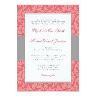 Gray and Guava Damask Swirl Wedding Invitation