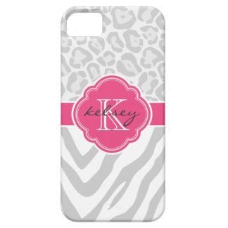 Gray and Hot Pink Animal Print Custom Monogram iPhone SE/5/5s Case