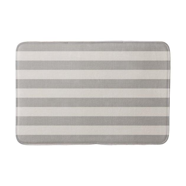Gray And Ivory Stripes Modern Farmhouse Bath Mat Zazzle Com