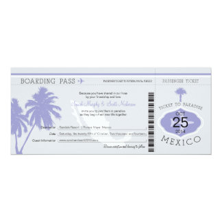 Gray and Lavender Mexico Boarding Pass Wedding 4x9.25 Paper Invitation Card