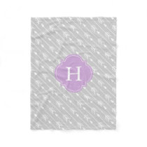 Gray and Lavender Monogrammed Arrows Pattern Fleece Blanket