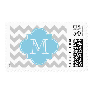 Gray and Light Blue Chevron Custom Monogram Postage