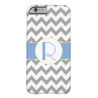 Gray and Light Blue Chevron Striped Monogram iPhone 6 Case