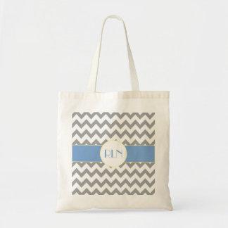 Gray and Light Blue Chevron Striped Monogram Tote Tote Bag