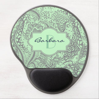 Gray And Light Green Abstract Floral Monogram Gel Mouse Pad