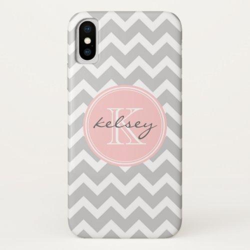 Gray and Light Pink Chevron Custom Monogram Phone Case