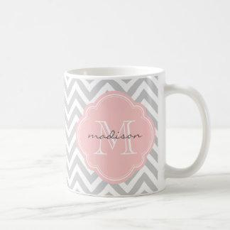 Gray and Light Pink Chevron Custom Monogram Coffee Mug