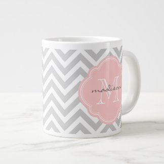 Gray and Light Pink Chevron Custom Monogram Giant Coffee Mug