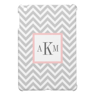 Gray and Light Pink Chevron Custom Monogram Case For The iPad Mini