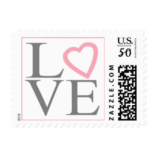 Gray And Light Pink Wedding Postage Love Stamps