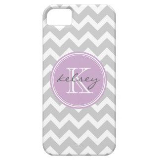 Gray and Lilac Chevron Custom Monogram iPhone 5 Cases