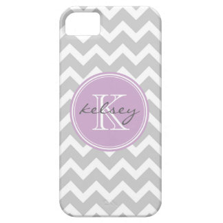 Gray and Lilac Chevron Custom Monogram iPhone SE/5/5s Case