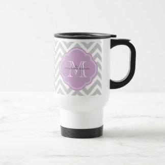 Gray and Lilac Chevron Custom Monogram Travel Mug