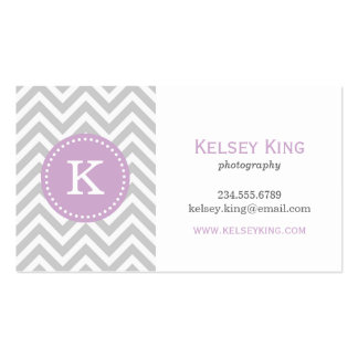 Gray and Lilac Purple Chevron Custom Monogram Double-Sided Standard Business Cards (Pack Of 100)