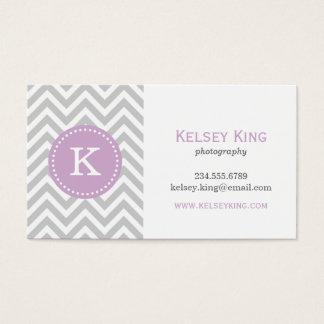 Gray and Lilac Purple Chevron Custom Monogram Business Card