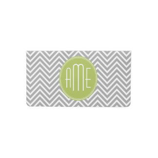 Gray and Lime Chevrons with Custom Monogram Checkbook Cover