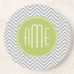 Gray and Lime Chevrons with Custom Monogram Beverage Coaster