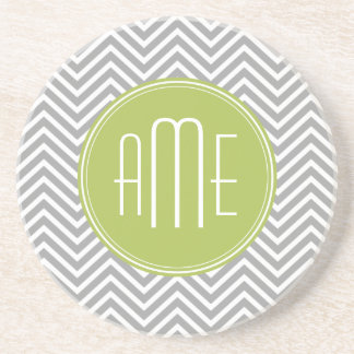 Gray and Lime Chevrons with Custom Monogram Drink Coaster