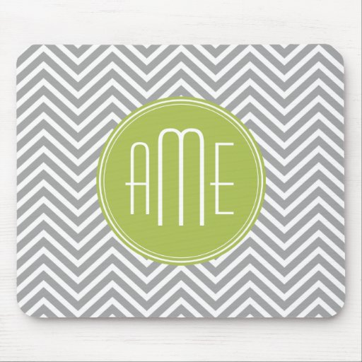 Gray and Lime Chevrons with Custom Monogram Mouse Pad