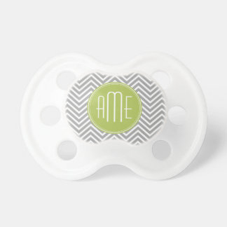 Gray and Lime Chevrons with Custom Monogram Pacifier