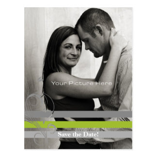 Gray and Lime Photo Card Save The Date