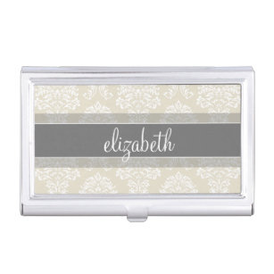 Women business card holders cases zazzle gray and linen vintage damask pattern with name business card case colourmoves Images