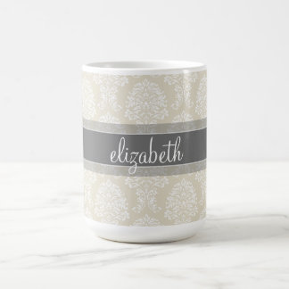 Gray and Linen Vintage Damask Pattern with Name Coffee Mug