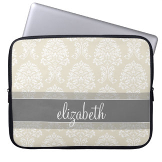 Gray and Linen Vintage Damask Pattern with Name Laptop Sleeve