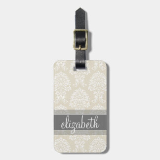 Gray and Linen Vintage Damask Pattern with Name Travel Bag Tag