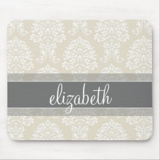 Gray and Linen Vintage Damask Pattern with Name Mouse Pad
