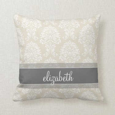 Gray and Linen Vintage Damask Pattern with Name Pillow